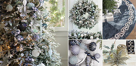 Shop the Midnight Frost decorating theme with our holiday accents in icy shades of blue and silver.