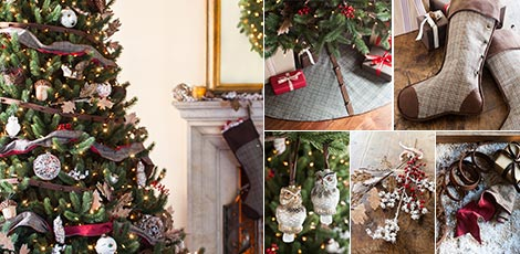 Shop the Woodland decorating theme with rustic Christmas decorations in rich earth tones.