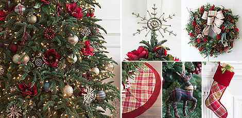 Shop the Farmhouse Christmas decorating theme with Christmas ornaments and accents that feature hues and our exclusive plaid pattern.