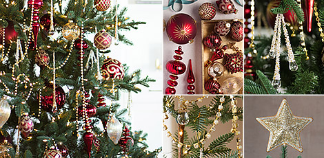 Shop the Brilliant Bordeaux decorating theme with a collection of beautiful Christmas decorations in deep burgundy and gold hues.