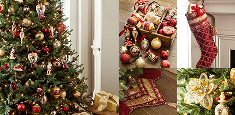Shop the Noel decorating theme with the luxurious colors of burgundy and gold.