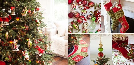 Shop the Mistletoe & Holly decorating theme with the classic, merry mix of red, green and gold ornaments.