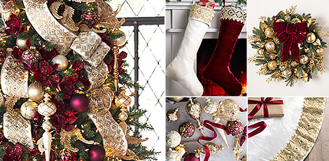 Shop the Biltmore decorating theme with elegant metallic ornaments and gilded accents inspired by the Biltmore Christmas decorations