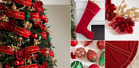 Shop the Christmas cheer decorating theme with a combination of festive colors or red, green and gold.