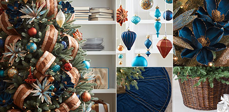 Shop the Georgetown decorating theme with our gorgeous decorations in shades of navy, copper and turquoise.