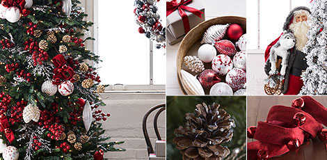 Shop the Nordic frost decorating theme with understated elegance of Scandinavian design with red, white and silver accents.